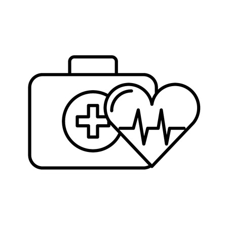 kit first aid and heart rate medical vector illustration thin line