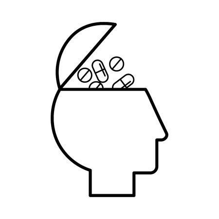 profile human head filled pills medication vector illustration thin line