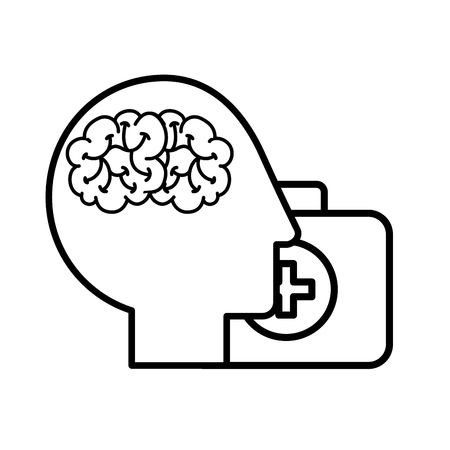 profile human head brain suitcase medical aid vector illustration thin line
