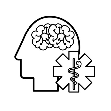 profile human head brain mental caduceus vector illustration thin line