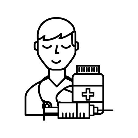 doctor staff medical bottle and syringe vector illustration thin line Ilustracja