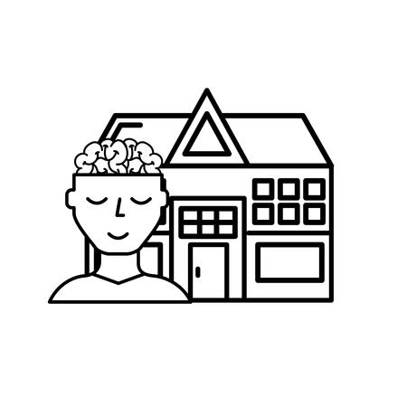 human portrait brain mental hospital health vector illustration thin line
