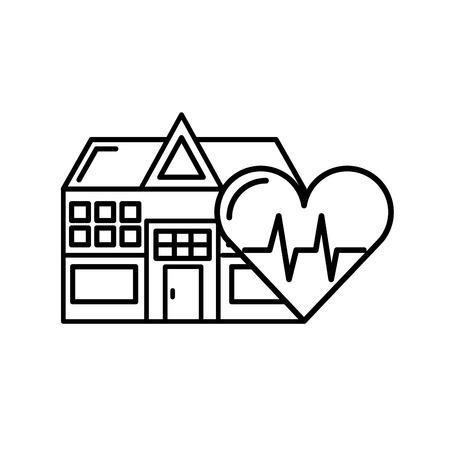 edificio ospedaliero frequenza cardiaca assistenza sanitaria illustrazione vettoriale linea sottile