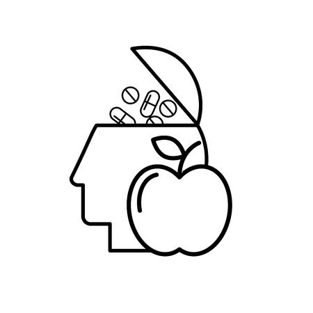 profile head filled pills medication food healthcare vector illustration thin line Иллюстрация