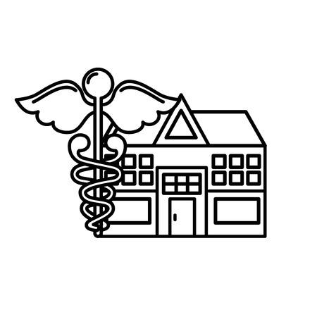 kaduceusz szpital budynek opieka zdrowotna medycyna ilustracja wektorowa cienka linia