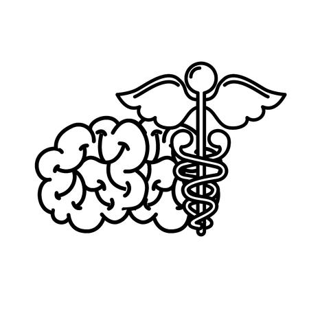 mental brain human care caduceus vector illustration thin line