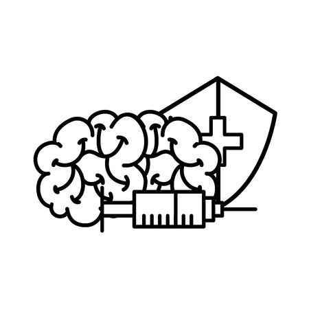 human brain syringe and shield protection medical vector illustration thin line