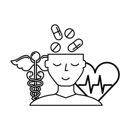 human profile pills mental heartbeat caduceus vector illustration thin line Stock Illustratie