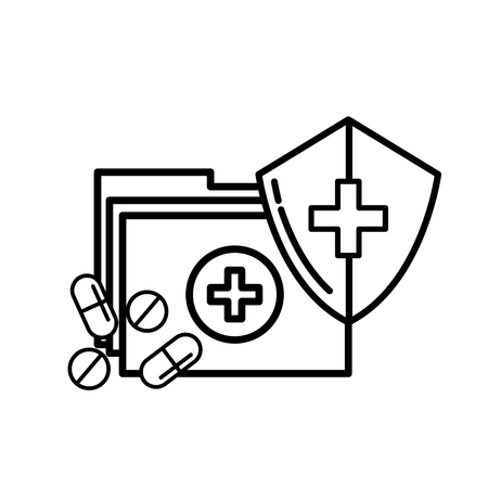 medical folder and pills shield protection vector illustration thin line