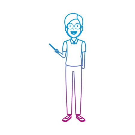 teacher man with pointer vector illustration design