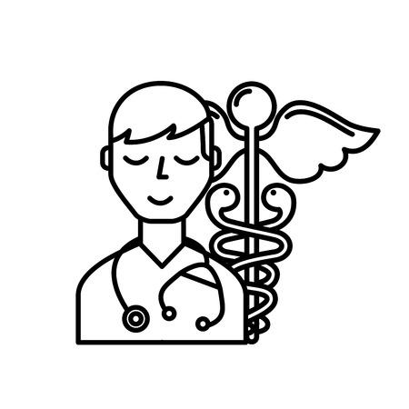 doctor staff medical caduceus emblem vector illustration thin line