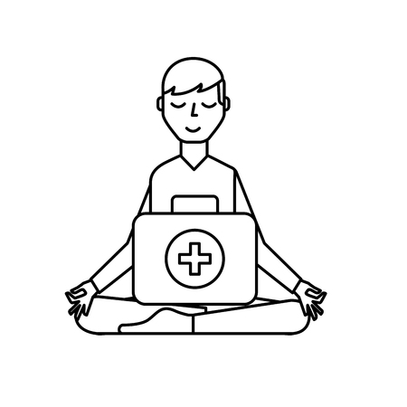 man sitting in meditation with kit first aid vector illustration thin line Stock Illustratie