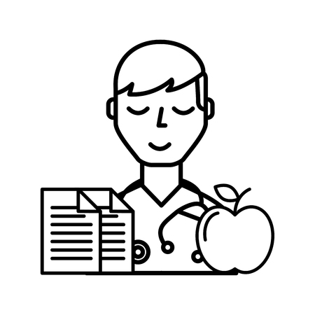 doctor portrait documents and apple healthcare vector illustration thin line