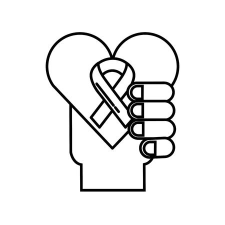 hand holding heart healthcare symbol vector illustration thin line Illustration