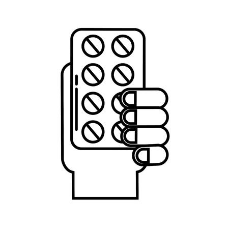 hand holding pills blister medicine vector illustration thin line Illustration