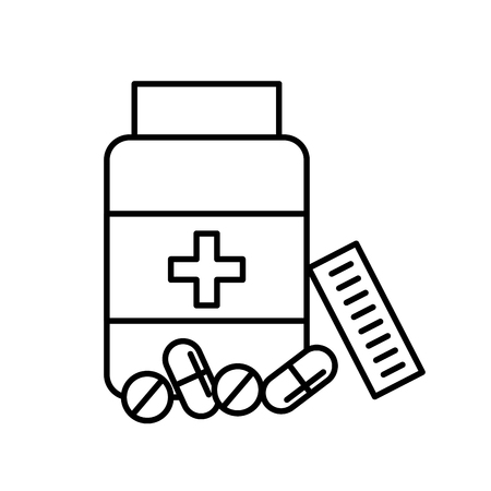 open bottle pills medicine healthcare vector illustration thin line Çizim