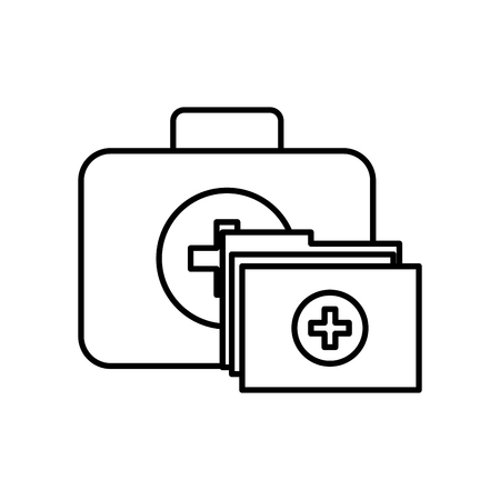 kit first aid folder report medical vector illustration thin line Ilustrace