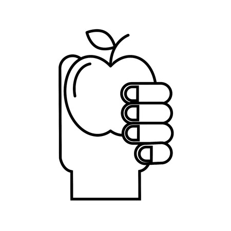 hand holding fruit apple healthcare vector illustration thin line