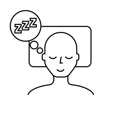 man sleeping on the bed vector illustration thin line Ilustrace