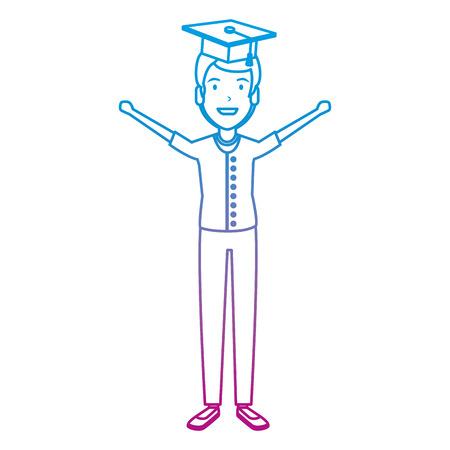 man student celebrating with hat graduation vector illustration design Stock Illustratie
