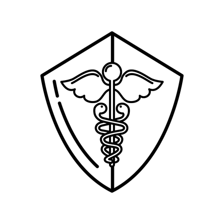 caduceus shield medical healthcare symbol vector illustration thin line