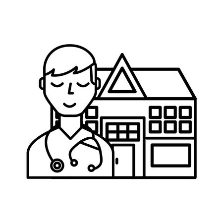doctor staff hospital building medical vector illustration thin line