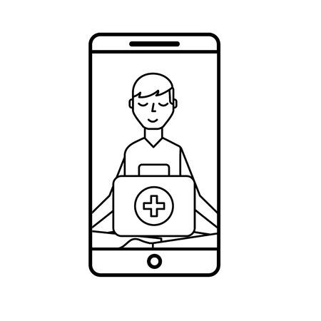 smartphone man meditation medical app vector illustration thin line Banque d'images - 110242050