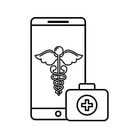 smartphone caduceus medical first aid app vector illustration thin line