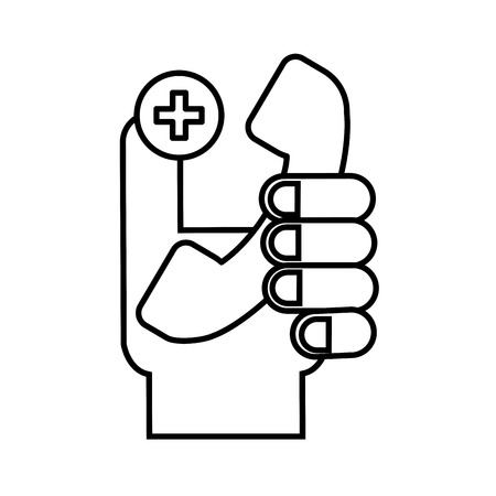 hand holding telephone medical service vector illustration thin line Banque d'images - 110242054