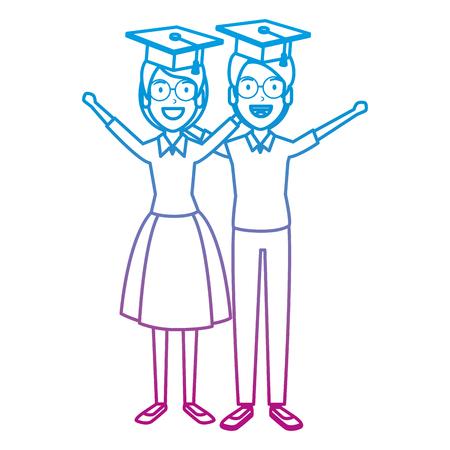 couple of students celebrating with hat graduation vector illustration Vektorové ilustrace