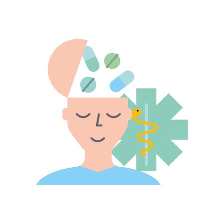 patient man head with medication caduceus vector illustration