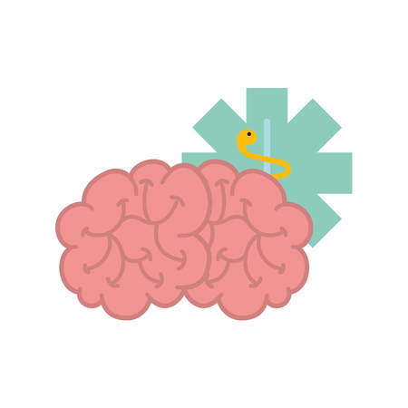 brain mental caduceus healthcare symbol vector illustration