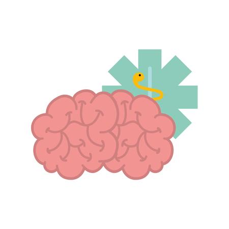 brain mental caduceus healthcare symbol vector illustration