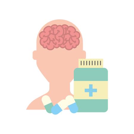 human character mental brain bottle medicine capsule vector illustration Illustration