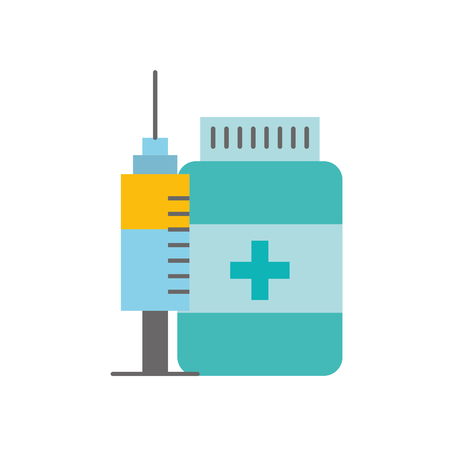 medication bottle pills and syringe vector illustration