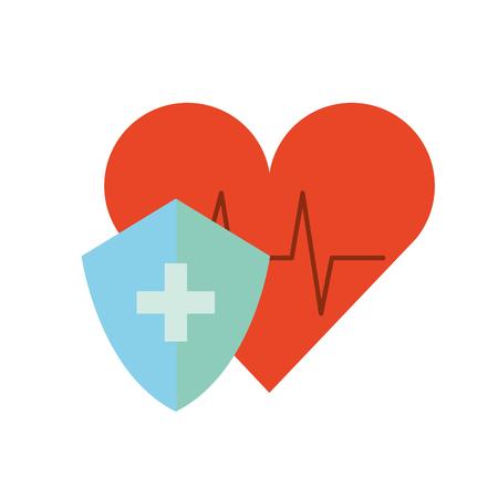 medical shield protection heart rate cardiology vector illustration Vektoros illusztráció