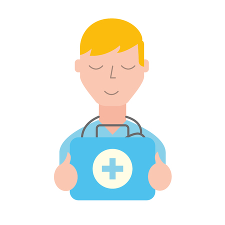 doctor professional with emergency kit first aid vector illustration