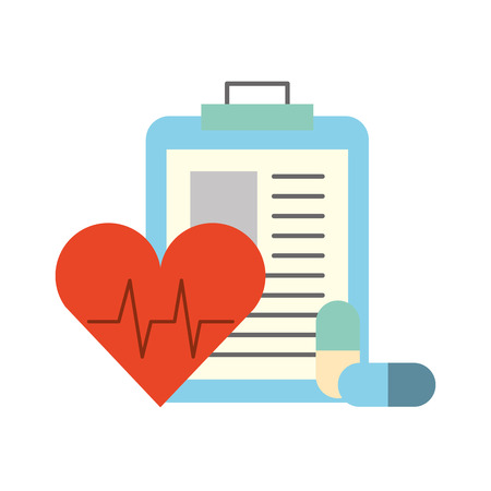 clipboard medical report heart rate and pills vector illustration Illustration