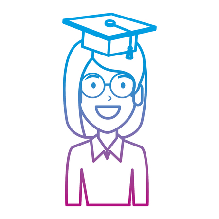 young woman student with hat graduation vector illustration design Stock Illustratie