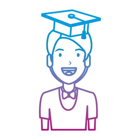 young man student with hat graduation vector illustration design Illustration