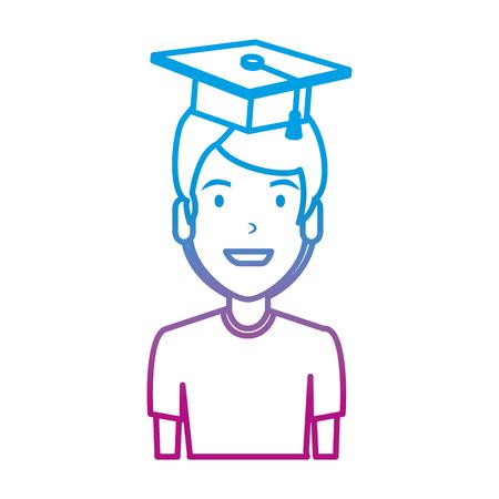 young man student with hat graduation vector illustration design Çizim