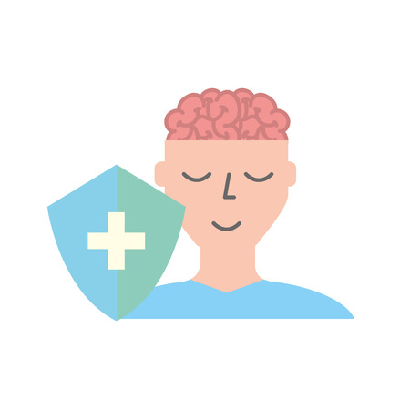 human portrait man brain mental healthcare vector illustration Zdjęcie Seryjne - 110242090