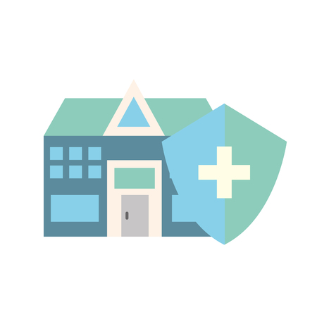 hospital medical building shield protection care vector illustration
