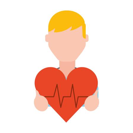 Hombre que sostiene la ilustración de vector de símbolo médico de frecuencia cardíaca