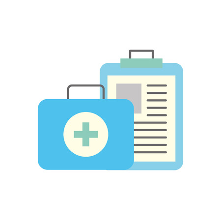 clipboard medical report and kit first aid vector illustration Stock Illustratie