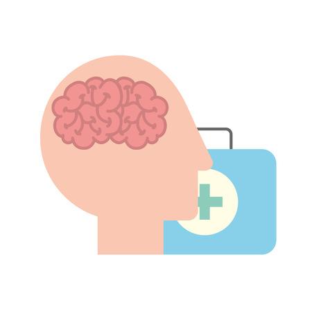 profile human head brain suitcase medical aid vector illustration