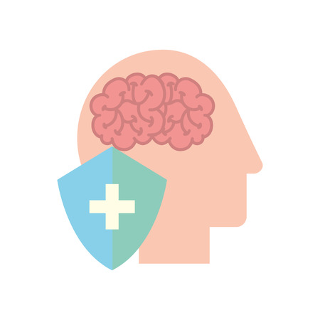 profile human head brain shield protection medical vector illustration Zdjęcie Seryjne - 110242104