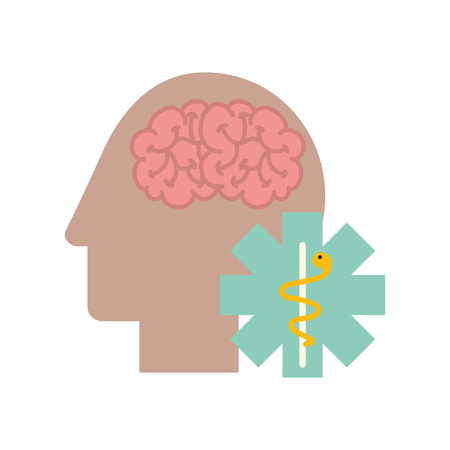profile human head brain mental caduceus vector illustration