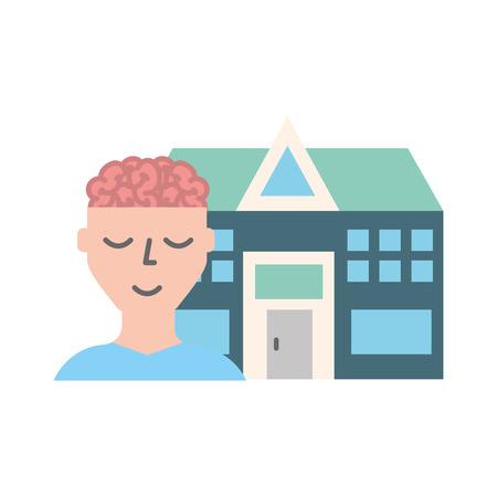 human portrait brain mental hospital health vector illustration 向量圖像