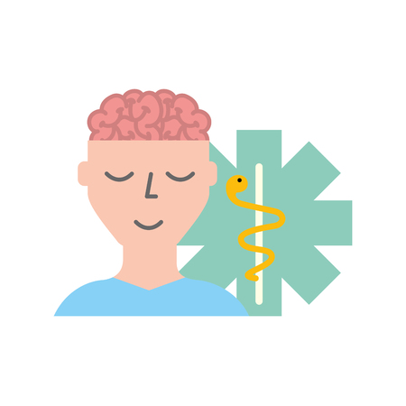 man patient character brain mental caduceus vector illustration